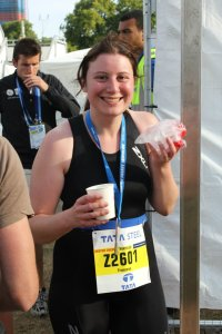 This was taken right after I finished the ITU/Dextro London sprint tri in 2011. See that grin? That's addiction to triathlon kicking in, right there. (Yes, this is what I look like.)