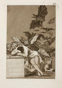 Goya's The Sleep of Reason Produces Monsters illustrates last night's head space quite well. Except my birds and bats weren't metaphors for Spanish society, because I'm simply not that deep.
