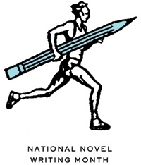 nanowrimo have the writer/runner connection right there in their logo...